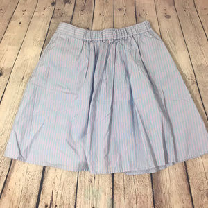 J Crew Stiped Blue Cotton Bell Skirt Size S